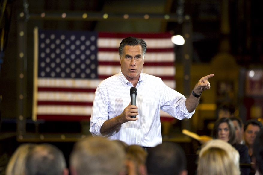 **FILE** Republican presidential candidate and former Massachusetts Gov. Mitt Romney speaks May 11, 2012, during a campaign stop at Charlotte Pipe and Foundry Company in Charlotte, N.C. (Associated Press)