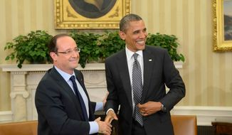 President Barack Obama meets with French President Francois Hollande in the Oval Office at the White House in Washington, Friday, May 18, 2012. (AP Photo/Eric Feferberg, Pool)
