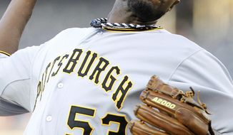 Pittsburgh Pirates starting pitcher James McDonald throws against the Washington Nationals during the first inning Thursday, May 17, 2012, in Washington. (AP Photo/Haraz N. Ghanbari)