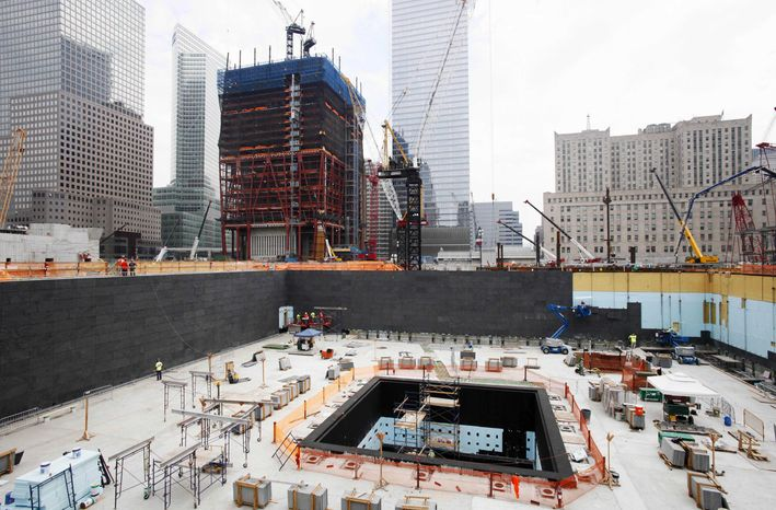 Construction continues Aug. 10, 2010, on the National September 11 Memorial and Museum in New York. (Associated Press)