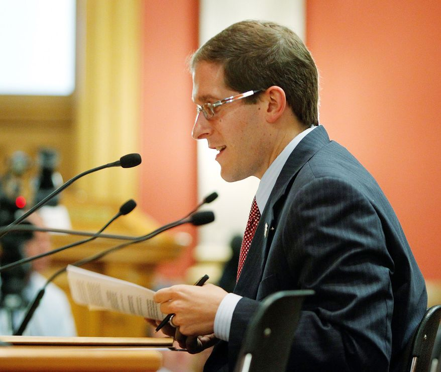Democratic Rep. Mark Ferrandino, sponsor of the civil unions bill, testifies before the House State Affairs Committee in Denver earlier this month. (Associated Press)
