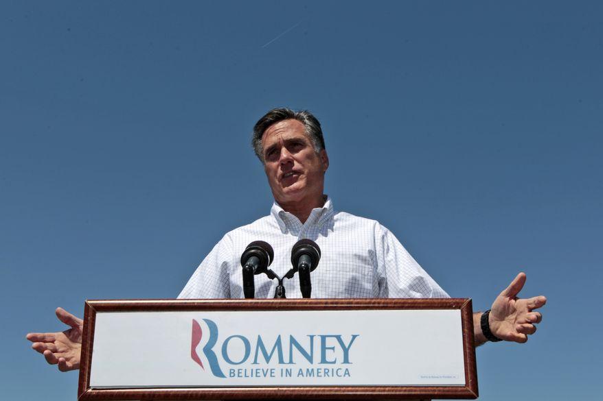Republican presidential candidate, former Massachusetts Gov. Mitt Romney speaks in Hillsborough, N.H., Friday, May 18, 2012. (AP Photo/Mary Altaffer)