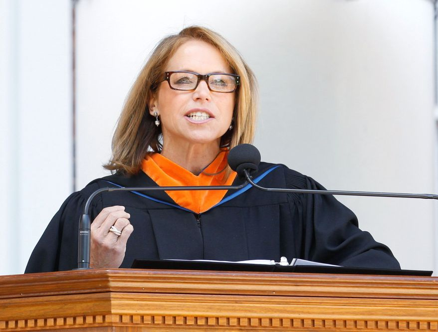 Journalist and author Katie Couric speaks at the University of Virginia commencement exercises Sunday, May 20, 2012, in Charlottesville, Va. (AP Photo/The Daily Progress, Sabrina Schaeffer)