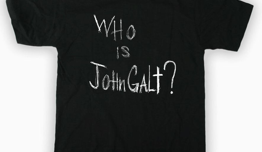"""The """"Atlas Shrugged, Part II"""" T-shirt. (Image from The Strike Productions)"""
