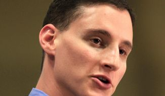 Ohio Treasurer Josh Mandel speaks in Akron, Ohio, on Saturday, Feb. 18, 2012. (AP Photo/Tony Dejak)