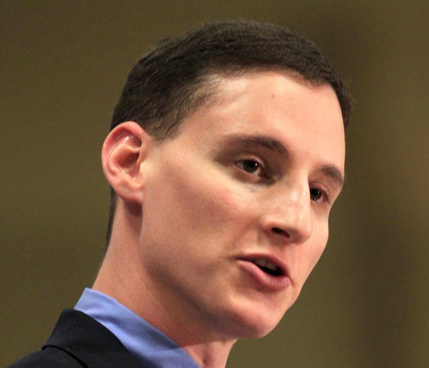 Ohio Treasurer Josh Mandel speaks in Akron, Ohio, on Saturday, Feb. 18, 2012. (AP Photo/Tony Dejak)