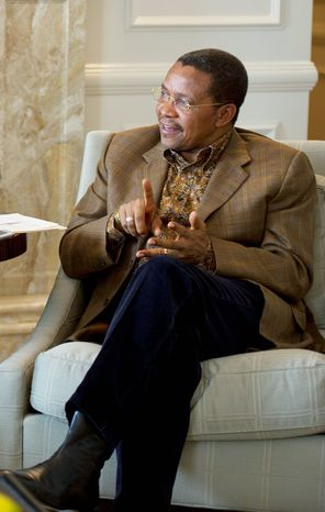 "For Jakaya Kikwete, the president of Tanzania, money to advance Africa's agriculture is essential for his and many other African nations. ""If we can succeed, we will lift millions and millions of people out of poverty very quickly,"" he says. (Barbara L. Salisbury/The Washington Times)"
