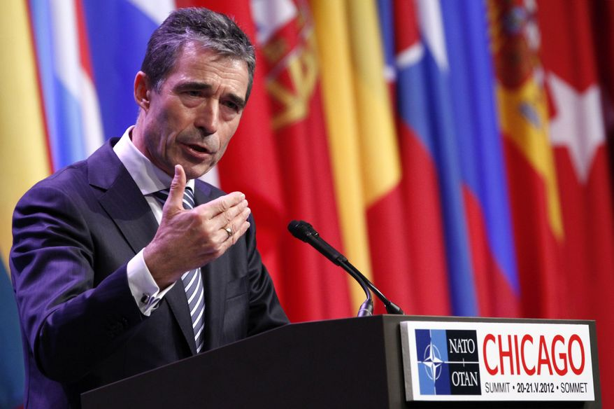 NATO Secretary General Anders Fogh Rasmussen speaks May 21, 2012, during a news conference at the NATO Summit in Chicago. (Associated Press)
