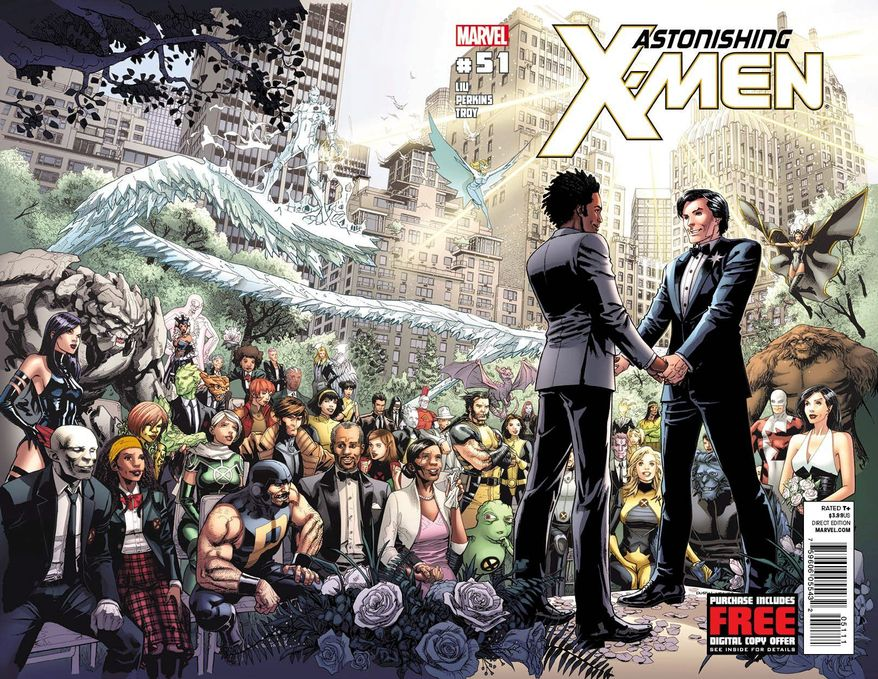 """The superhero Northstar (right) will marry his longtime boyfriend in Marvel Comics' """"Astonishing X-Men"""" No. 51, which is due out June 20. Northstar became the publisher's first openly gay hero in 1992. (Associated Press)"""