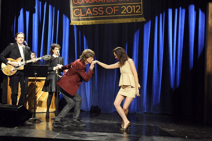 """Mick Jagger was the host when """"Saturday Night Live"""" bid farewell to Kristen Wiig, who got a kiss after her dance with the Rolling Stones' icon and then spun through numbers with members of the SNL cast and the show's creator, Lorne Michaels. (NBC via Associated Press)"""
