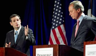 Tea party candidate Ted Cruz (left) responds in January to Lt. Gov. David Dewhurst during a Republican primary debate in Austin. The former Texas solicitor general has repeatedly challenged Mr. Dewhurst's conservative credentials in the primary race for the U.S. Senate seat left open with the retirement of Kay Bailey Hutchison. (Associated Press)