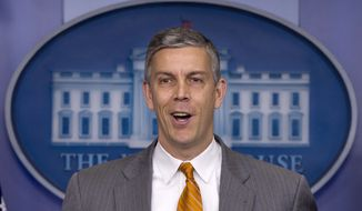 ** FILE ** Education Secretary Arne Duncan speaks during the daily news briefing at the White House in Washington on Friday, April 20, 2012. (AP Photo/Carolyn Kaster)