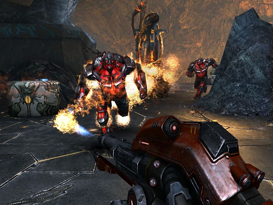 Use a flamethrower to attack enemies in the first person shooter for the iPad N.O.V.A. 3: Near Orbit Vanguard Alliance.