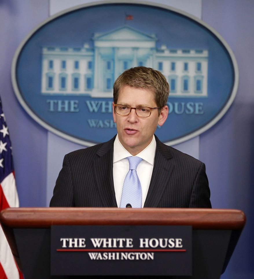 White House spokesman Jay Carney speaks May 22, 2012, during his daily news briefing at the White House. (Associated Press)