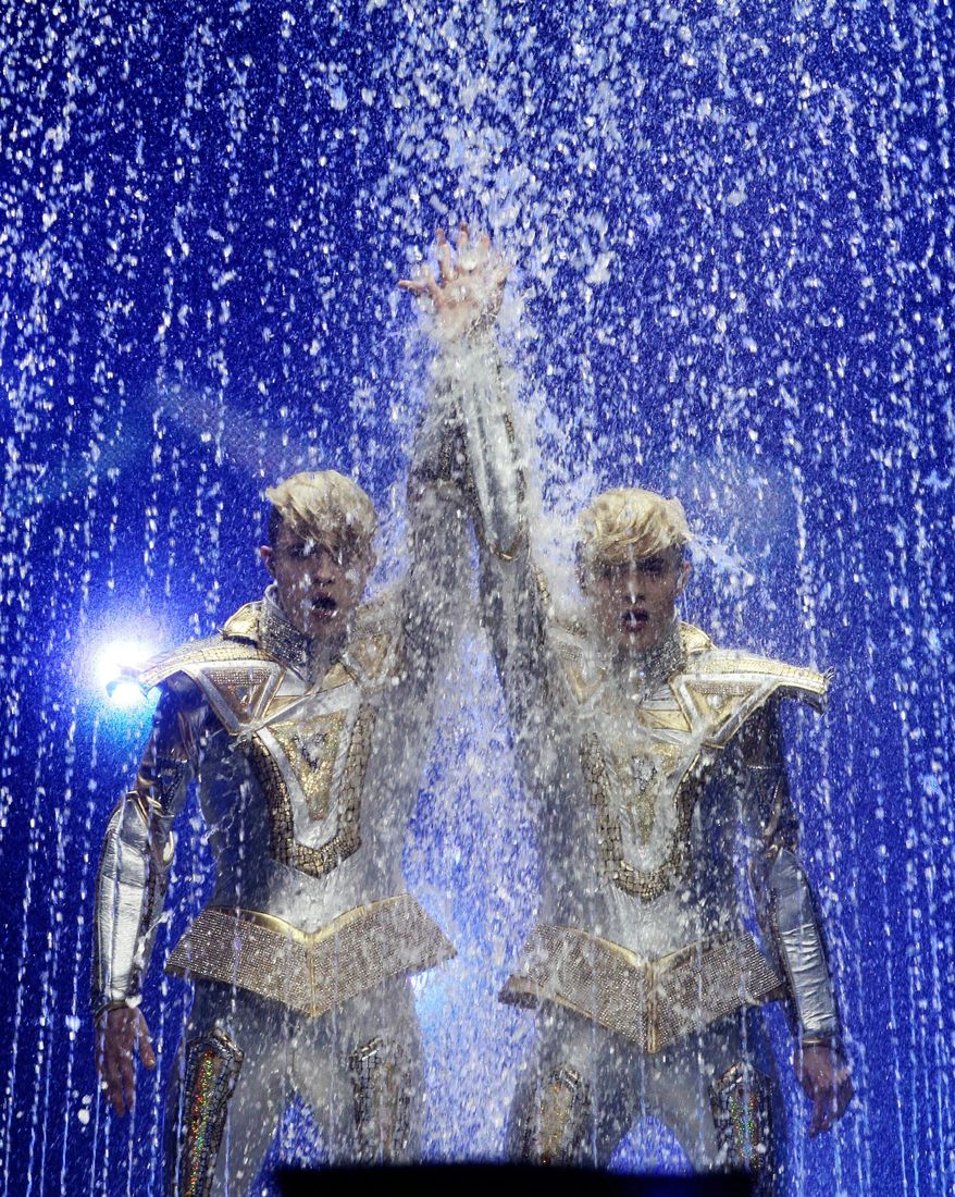 Ireland's Jedward performs during the first semifinal of the 2012 Eurovision Song Contest at the Baku Crystal Hall in Baku, Azerbaijan, on Tuesday. The finals of the 2012 Eurovision Song Contest will be held at the stadium on Saturday. (Associated Press)