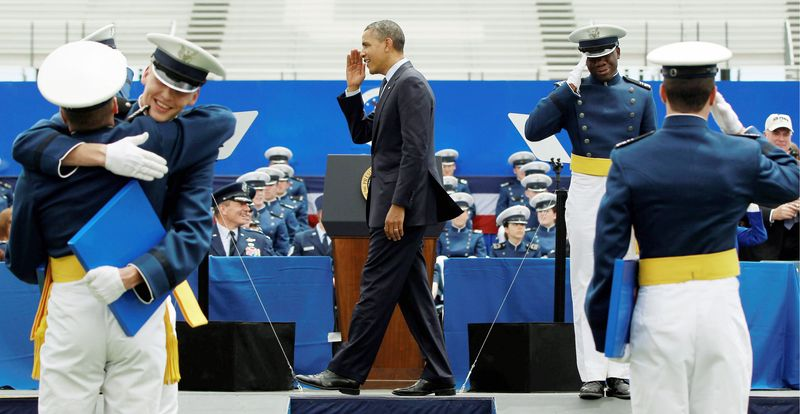 President Obama congratulates graduates of the 2012 class of the U.S. Air Force Academy in Colorado Springs on Wednesday. (Associated Press)