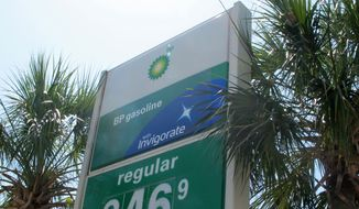 Palmetto trees, the state tree of South Carolina, frame a gas station sign on Folly Beach, S.C., on Monday, May 21, 2012. The Carolinas AAA motor club reported that South Carolina had the cheapest gas in the nation on Monday and prices could drop even more this summer. (AP Photo/Bruce Smith)