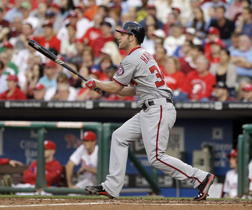 Washington Nationals' Bryce Harper hit a two-run triple off of Philadelphia Phillies starter Roy Halladay in the third inning Tuesday. The Nats won 5-2, as Halladay gave up all five runs. (AP Photo/Matt Slocum)