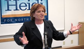 **FILE** North Dakota Democratic Senate candidate Heidi Heitkamp speaks May 3, 2012, in Minot, N.D. (Associated Press)