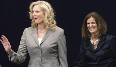 Ann Romney, left, wife of Republican presidential candidate, former Massachusetts Gov. Mitt Romney and Mary Pat Christie, wife of New Jersey Gov. Chris Christie. (AP Photo/Stephan Savoia)