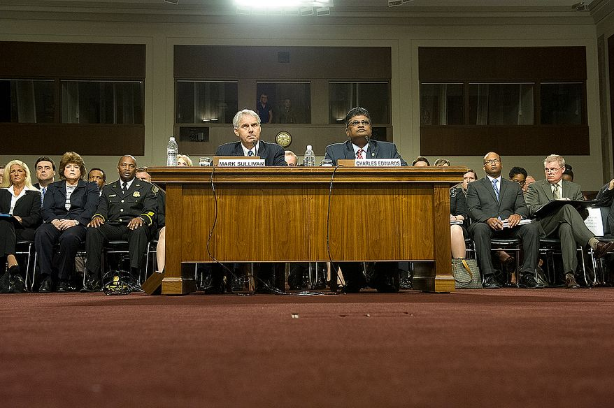 Mark Sullivan, left, director of the United States Secret Service, and Charles Edwards, acting inspector general of the U.S. Department of Homeland Security, testify before the Committee on Homeland Security and Governmental Affairs at the Dirksen Building in Washington, D.C. on Wednesday, May 23, 2012. Sullivan repeatedly spoke to the professional and ethical nature of most people in the Secret Service, but he did say that they took the actions in Cartagena seriously and will make every effort to ensure that such actions do not occur again. (Barbara L. Salisbury/The Washington Times)