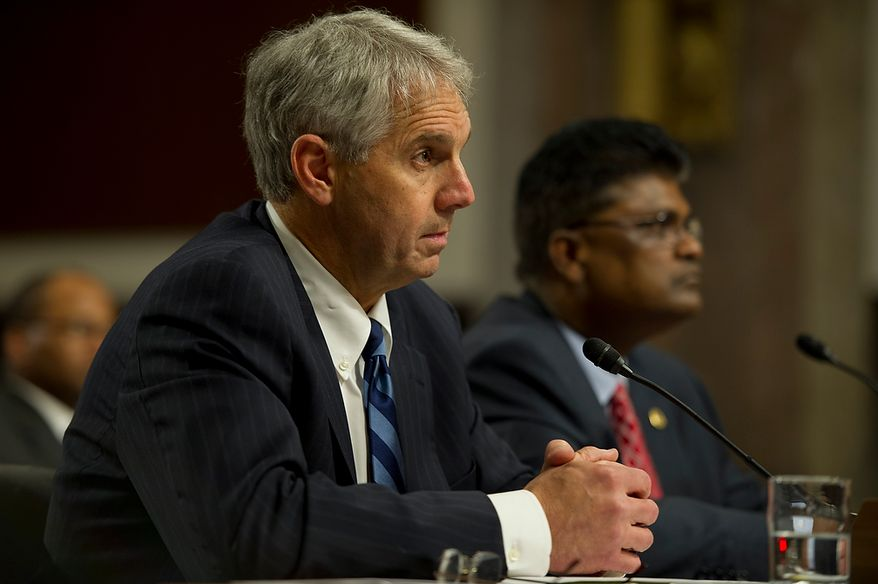 Mark Sullivan, left, director of the United States Secret Service, and Charles Edwards, acting inspector general of the U.S. Department of Homeland Security, testified before the Committee on Homeland Security and Governmental Affairs at the Dirksen Building in Washington, D.C. on Wednesday, May 23, 2012. (Barbara L. Salisbury/The Washington Times)