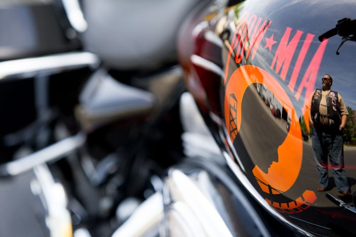 A Rolling Thunder member's motorcycle is seen May 12, 2012, in Fort Washington, Md. (Andrew Harnik/The Washington Times)