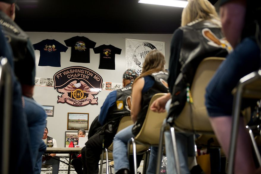 Rolling Thunder bikers take their seats as the Maryland chapter holds a general membership meeting to plan for their Memorial Day events at Harley Davidson's Ft. Washington store, Ft. Washington, Md., Saturday, May 12, 2012. (Andrew Harnik/The Washington Times)