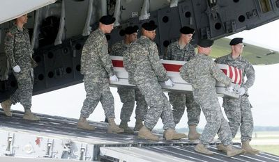An Army carry team moves a transfer case containing the remains of Staff Sgt. Israel P. Nuanes after arrival at Dover Air Force Base, Del. Nuanes died in Afghanistan supporting Operation Enduring Freedom. (Associated Press)