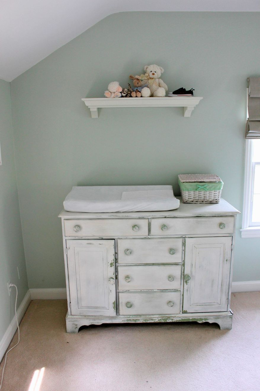 Photo by Ross Shapple Marika Meyer is using a vintage hutch as a baby-changing table. Once it is done serving that purpose, it can be repurposed again.
