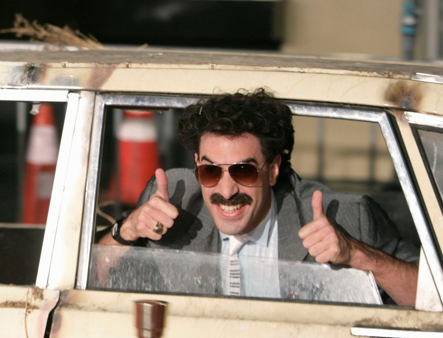 """Actor Sacha Baron Cohen arrives in character for the premiere of his film """"Borat"""" in Los Angeles in October 2006. (Associated Press)"""