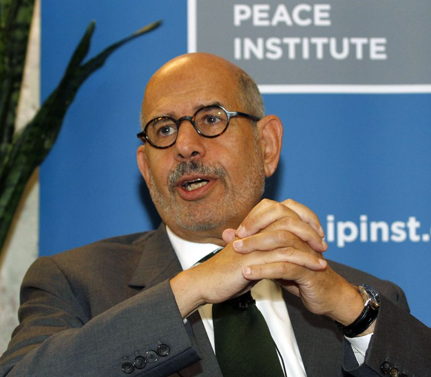 Mohamed El Baradei, former chief of the International Atomic Energy Agency, speaks May 24, 2012, to the media in Vienna, Austria. (Associated Press)