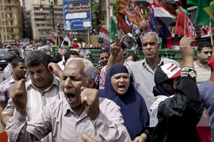 Egyptian demonstrators gather May 25, 2012, in Cairo's Tahrir Square to denounce the electoral success of presidential candidate Ahmed Shafiq. (Associated Press)