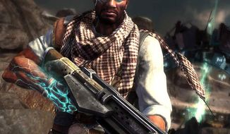 Hired gunslinger Emmett Graves is ready to fight the Outcast in the video game Starhawk.