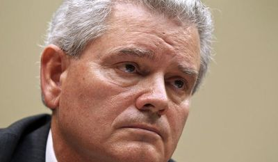 **FILE** Jeffrey Neely, the central figure in a General Services Administration spending scandal, sits at the witness table as the House Committee on Oversight and Government Reform investigates wasteful spending and excesses by GSA during a 2010 Las Vegas conference, on Capitol Hill in Washington, Monday, April 16, 2012. (AP Photo/J. Scott Applewhite)