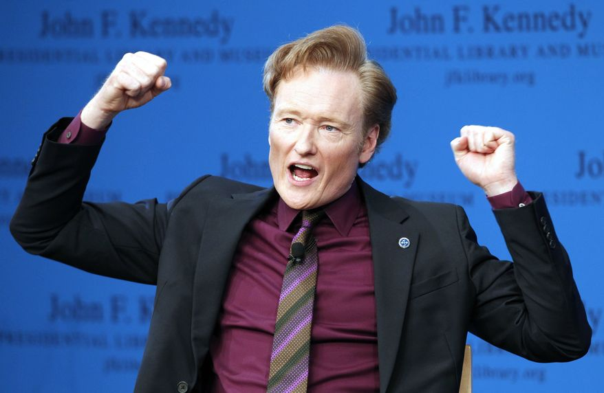 Conan O'Brien discusses his life and the art of comedy during a forum at the John F. Kennedy Presidential Library in Boston, Thursday, May 24, 2012. (AP Photo/Michael Dwyer)