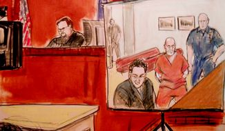 In this courtroom drawing, Pedro Hernandez, second right, is arraigned at Manhattan Criminal Court before Judge Matthew Sciarrino Jr., via closed circuit television from Bellevue Hospital in New York, Friday, May 25, 2012. (AP Photo/Elizabeth Williams)