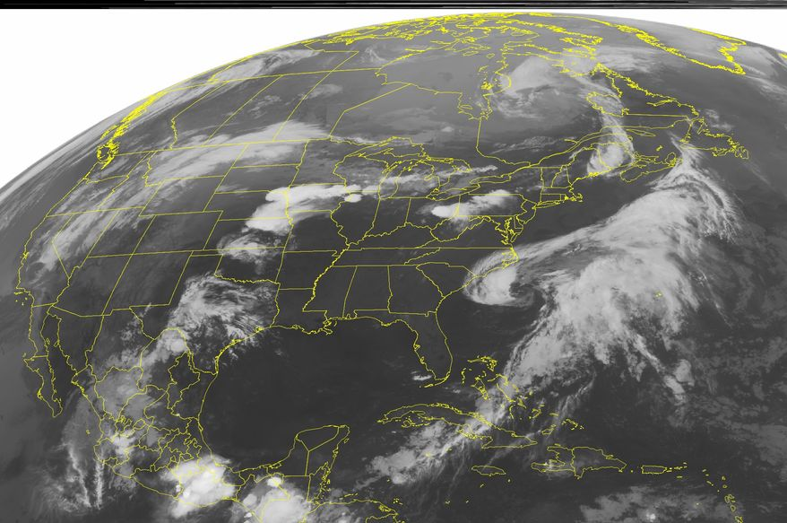 This NOAA satellite image taken Saturday, May 26, 2012, at 1:45 a.m. EDT shows shows clouds off the Carolina Coast associated with Subtropical Storm Beryl. (AP PHOTO/WEATHER UNDERGROUND)