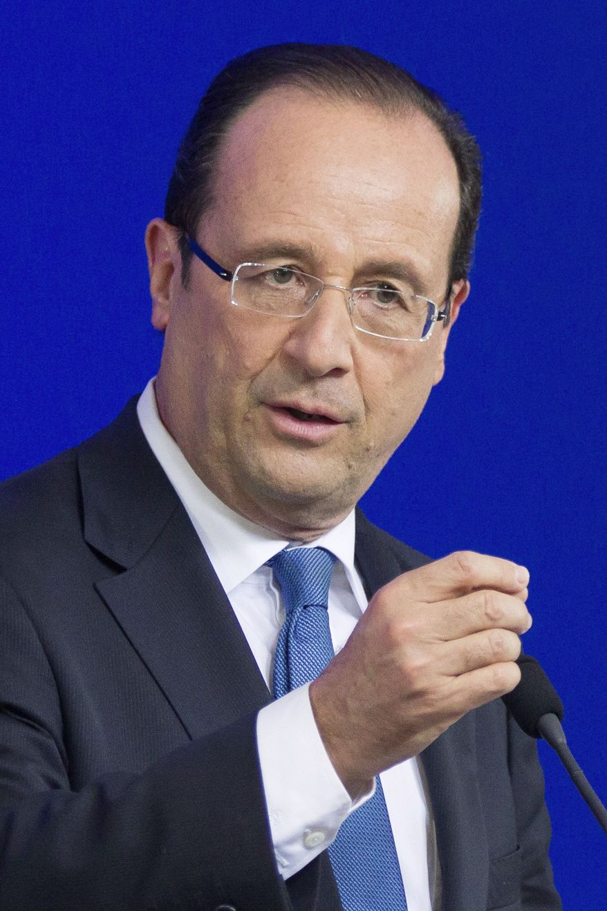 "Francois Hollande (left), the new president of France, has pressed the European Union to embrace measures that promote growth. European Council President Herman Van Rompuy (center) said that EU leaders should consider ""innovative, or even controversial, ideas."" German Chancellor Angela Merkel previously proposed strict fiscal and deficit targets."