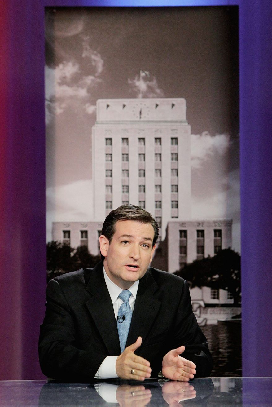 """Ted Cruz, a Texas Republican primary candidate for Senate, says of Tuesday's vote: """"The stakes could not be higher."""" (Houston Chronicle via Associated Press)"""