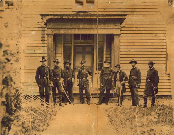 Lt. Alonzo Cushing (far left), shown with other Union officers, commanded an artillery battery that helped repulse Pickett's Charge at Gettysburg in 1863 and was killed during the fighting. Supporters are near their goal of having a posthumous Medal of Honor awarded for him. (Wisconsin Historical Society via Associated Press)