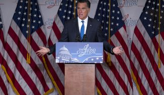 Republican presidential candidate Mitt Romney speaks at the Latino Coalition's annual economic summit at the U.S. Chamber of Commerce in Washington on Wednesday, May 23, 2012. (AP Photo/Evan Vucci)