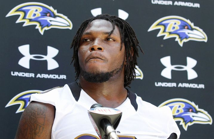 Baltimore Ravens linebacker Courtney Upshaw speaks at a news conference after NFL football rookie camp practice in Owings Mills, Md., Sunday, May 13, 2012. (AP Photo/Patrick Semansky)