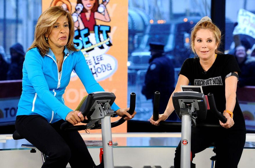 "FILE - In this Jan. 7, 2011 file image originally released by NBC Universal, Hoda Kotb, left, and Kathie Lee Gifford co-hosts of the fourth hour of the ""Today"" ride exercise bikes as part of the segment ""Lose it With Kathie Lee and Hoda"" in New York. (AP Photo/NBC, Peter Kramer, file)"