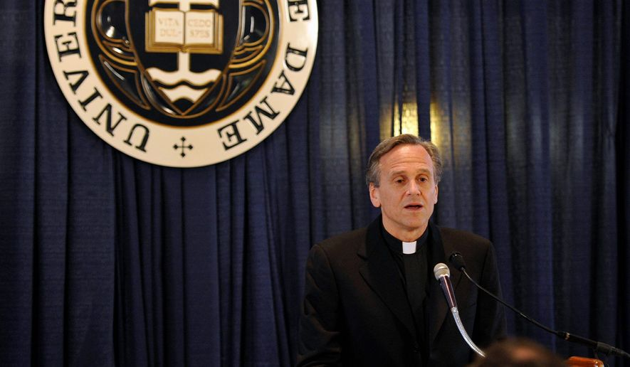 """""""We do not seek to impose our religious beliefs on others. We simply ask that the government not impose its values on the university when those values conflict with our religious teachings. We have engaged in conversations to find a resolution that respects the consciences of all, and we will continue to do so."""" - The Rev. John I. Jenkins, Notre Dame's president, May 21, 2012. (Associated Press)"""