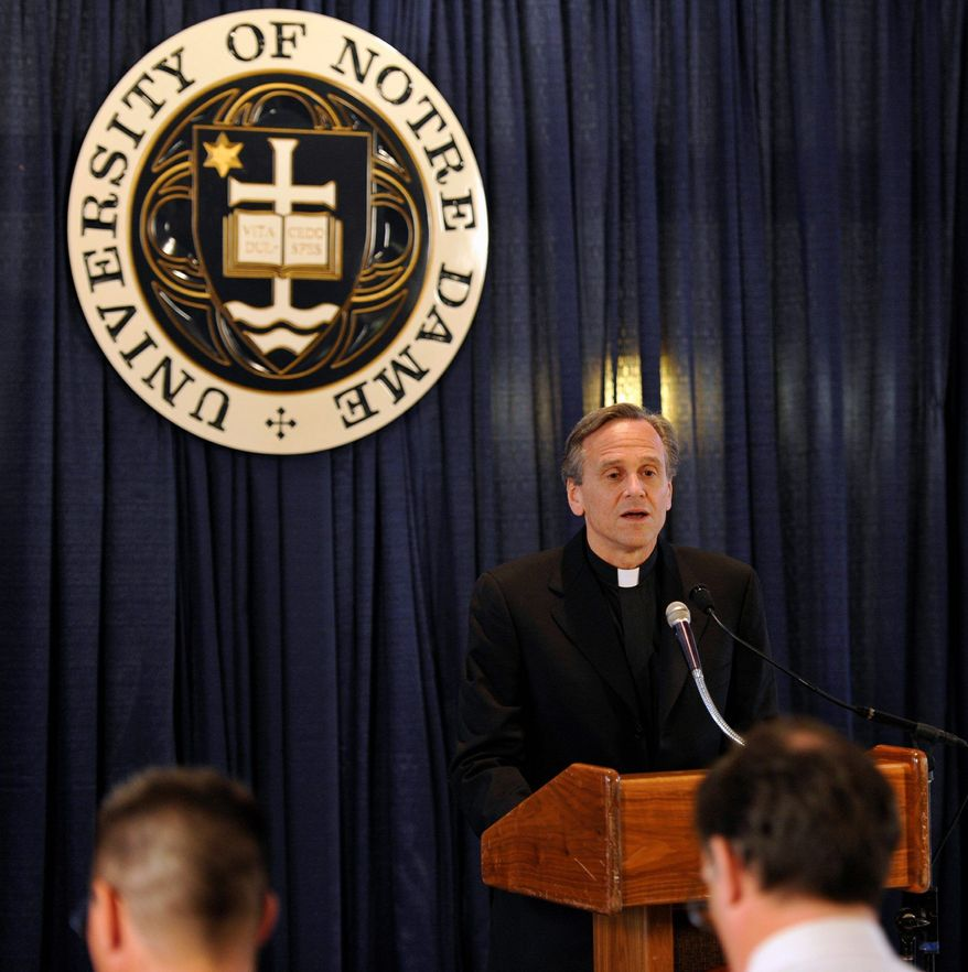 """We do not seek to impose our religious beliefs on others. We simply ask that the government not impose its values on the university when those values conflict with our religious teachings. We have engaged in conversations to find a resolution that respects the consciences of all, and we will continue to do so."" - The Rev. John I. Jenkins, Notre Dame's president, May 21, 2012. (Associated Press)"