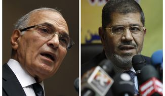 ** FILE ** Egyptian presidential candidates Ahmed Shafiq (left) and Mohammed Morsi (AP Photo/Khalil Hamra and Nasser Nasser)