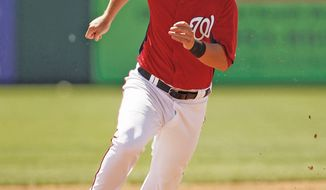 Since being called up April 29, Tyler Moore started just five games with the Washington Nationals. He will be optioned back to Triple-A Syracuse on Tuesday. (Associated Press)