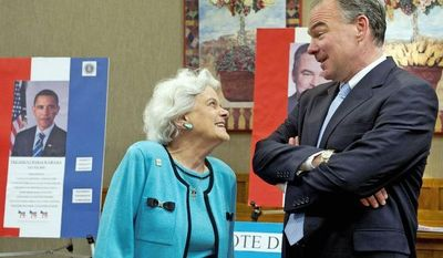 Loretta Nowakowski, president of the Democratic Club at the Greenspring retirement commmunity in Springfield, chats with Democratic Senate hopeful Tim Kaine, who was there to court seniors. (Barbara L. Salisbury/The Washington Times)