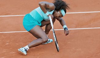 associated press Serena Williams was down, then out of her match against Virginie Razzano after dropping a three-set decision in the French Open. Williams, who was seeking her 14th major title, had been 46-0 in first-round matches at Grand Slam tournaments before Tuesday's upset.